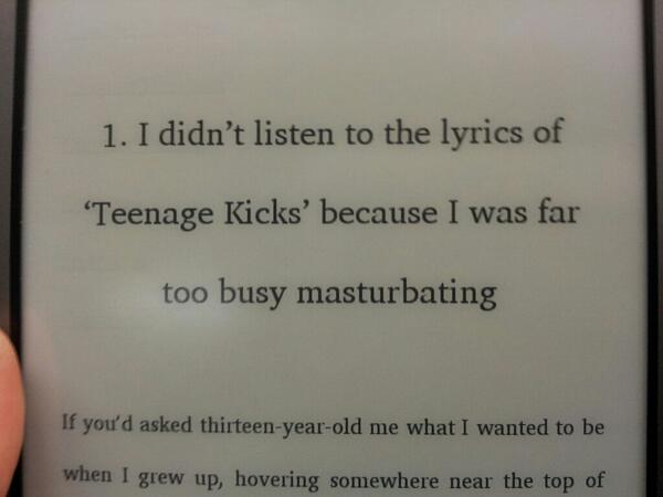 """I didn't listen to the lyrics of Teenage Kicks because I was far too busy masturbating."""