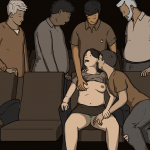Woman in a sex cinema with her tits out and her boyfriend's hand in her crotch, a group of wanking men stand nearby, wanking