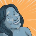 Woman having had a facial looking radiantly happy, with her face covered in jizz (or spunk, cum or semen depending on your preference)