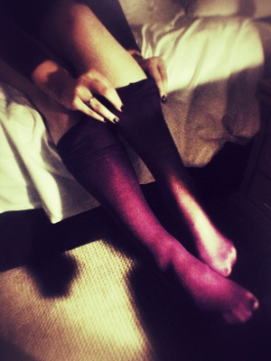 Purple tights are an excellent way to tell the world that you don't give a fuck. Or that your black tights are in the wash.