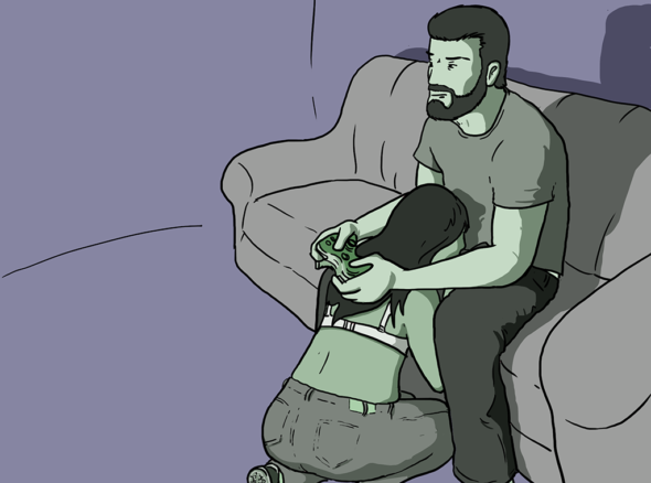 Guy with a look of concentration on his face plays Xbox while a woman kneels between his legs trying to distract him from the game by sucking his cock - the xbox blow job