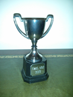 amazing orgasm competition trophy, bearing the legend 'veni, vici 2013'