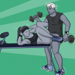 A couple indulging in some sexercise in a weird sex position - she lies on a workbench doing sit-ups while he does bicep curls, they are both naked from the waist down and fucking