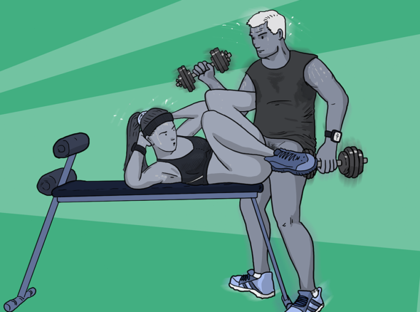 A couple indulging in some sexercise - she lies on a workbench doing sit-ups while he does bicep curls, they are both naked from the waist down and fucking