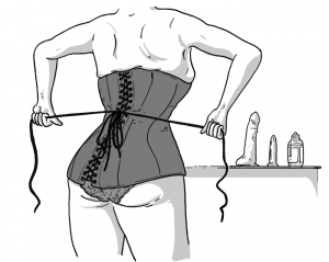 Woman practicing self bondage with a corset - illustration of back of corset with strings being pulled tight