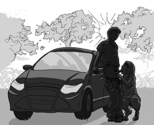 Woman kneels down to give a man a blow job against the door of his car. They are in silhouette
