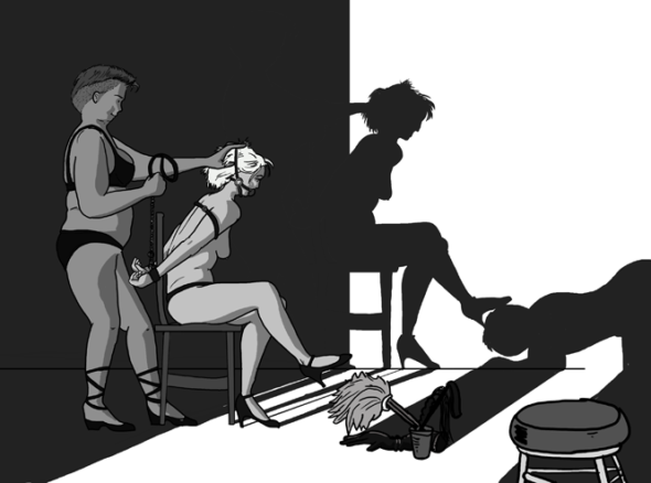 BDSM switching - one person is tied in a chair in bondage while another shoves her head forward. The shadow in the background shows the same scene but switched around