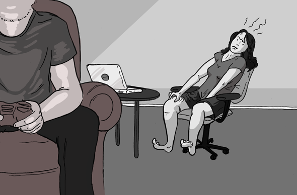 one person playing xbox and the other looking sexually frustrated by their laptop