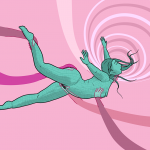 Woman suspended in mid-air in dreamy state, with long arms holding and touching her naked body and a swirly hypnotic pattern in the background - to sum up the dreamy feeling of anaesthetic sex