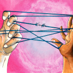 Two hands pulling a cat's cradle tight, against a pink background