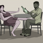 woman sits across the table from a man, showing him the hand as if to say 'no' while he looks at the wine bottle