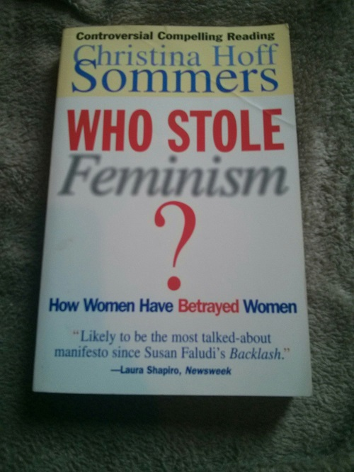 "One of the review quotes says ""Christina Hoff Sommers has done something lethally deflating to the pretensions of the shriller sort of feminists."" SHRILL SCREECH"