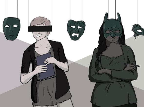 two sex bloggers standing behind masks for anonymity