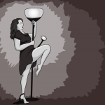 Woman in dress rubs herself against a lamp