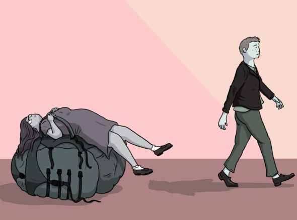 woman who has toppled over because she is wearing a backpack of heavy expectations