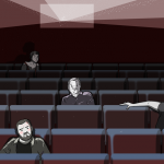 group of men and one woman sitting in a porn cinema