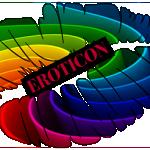 Rainbow coloured lips with Eroticon written on them