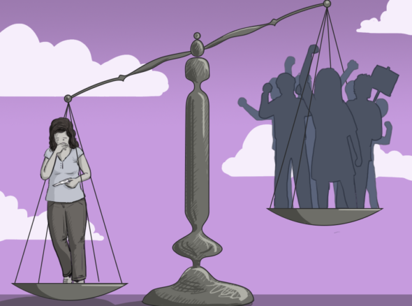 Repeal the 8th - Image of scales of justice weighing in favour of a woman's right to choose