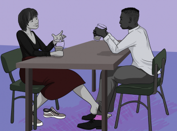 two people sitting at a table drinking wine, one of them is reaching her foot out to play footsie with the guy opposite