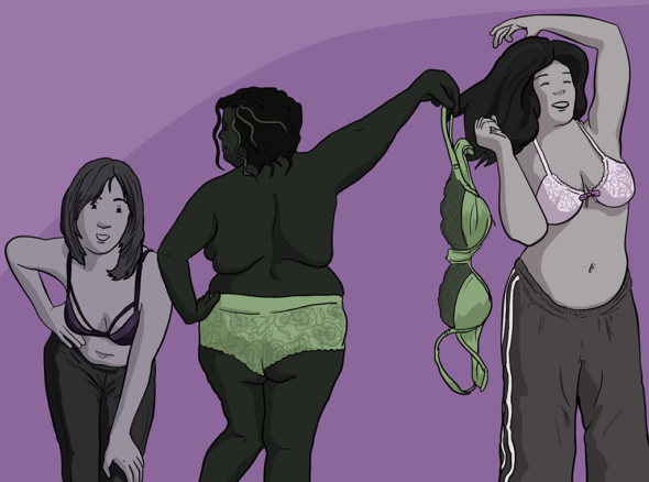 Three women posing in their bras, the middle lady has taken hers off and is twirling it