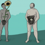 Two naked men holding flower pots in front of their genitals - one has a huge sunflower coming out of the pot, the other has a bulb buried in the soil