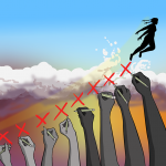 picture of lots of raised hands drawing crosses on the sky, with a figure of a girl jumping off the ramp their hands have created