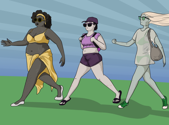 Picture of women striding forward confidently in whatever summer clothes they damn well feel like wearing - sarongs, shorts, and t-shirts