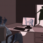 Guy sitting at a desk and girl standing in doorway. He is watching porn and beckoning her to come in