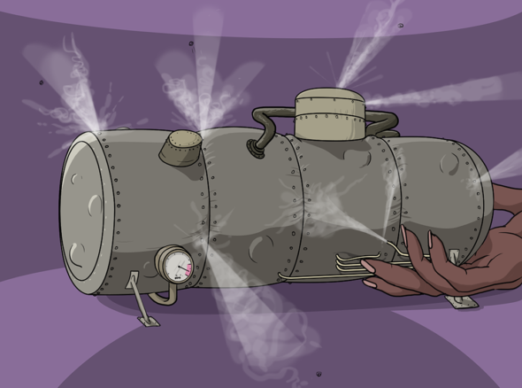 picture of a steam-powered machine shaped like a cylinder, with jets of steam hissing out of it as if it is about to explode. A hand gently caresses the machine as if to control it