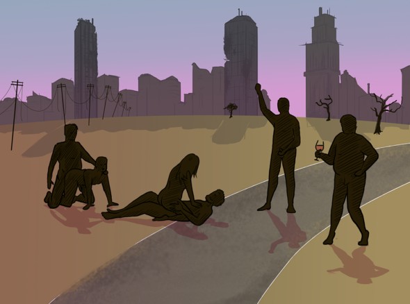 a group of people in silhouette having a gang bang and partying in the desert. In the background the ruins of a city are visible against the skyline