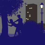 two people fucking outdoors against a tree, their bodies silhouetted against a high-rise block of flats and a lamp-post in the background