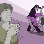Woman smiling and drinking wine while her partner dances with someone else
