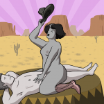 Women going on top during sex with man, waving her cowboy hat in the air and looking really happy