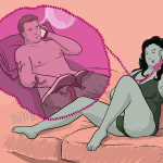Picture of a woman on a sofa talking on the phone, and in a bubble a guy is talking to her on a different phone with his hands down his trousers. Somewhere off-screen, GOTN is being a pervy voyeur