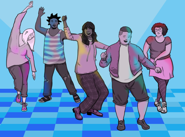 Group of people on dancefloor wearing comfortable clothes, dancing and generally having a brilliant time