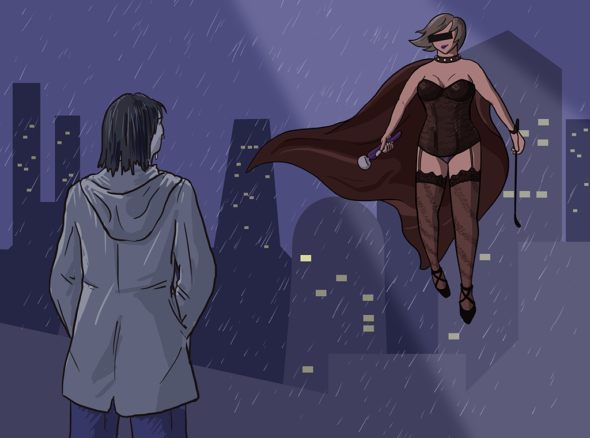 Woman stands on roof looking out over city, flying superhero girl on the net stares back at her