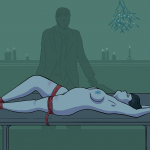 Naked woman is tied down to a table tightly while a stranger looms over her
