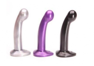 Three tantus sport dildos in silver, purple and black
