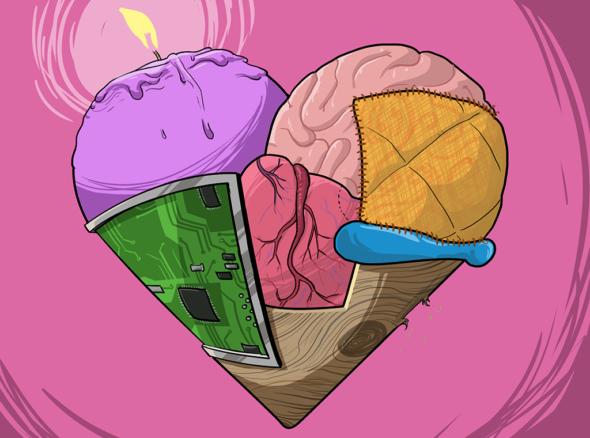 image of a heart that sums up all the things 'i love you' means - composed of bits of brain and heart and cake and ice cream and other bits and pieces