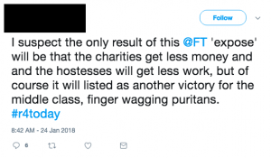 Tweet reads: I suspect the only result of this @FT 'expose' will be that the charities get less money and and the hostesses will get less work, but of course it will listed as another victory for the middle class, finger wagging puritans. #r4today