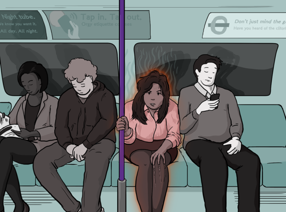 Girl on the net sits on the tube surrounded by men playing on their phones. She is horny so she glows red