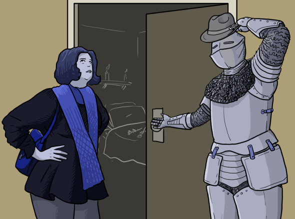 Chivalry: a knight in shining armour and a fedora opens a door for an exasperated woman