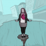 Girl stands on a precarious ledge, with a deep hole all aroun dher. Her face is flushed and her heart is huge and she looks like she will topple at any moment