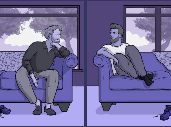 Two guys sit at opposite ends of the sofa, staring into the distance, but the perspective has shifted so instead of looking away from each other they look at each other, showing relationship counselling bringing them closer together