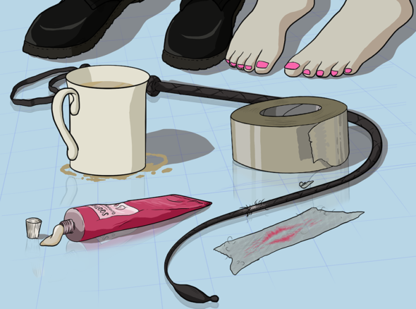 Two people's feet pictured after their filthy sex, nearby there is gaffer tape, a whip, a coffe cup and some ointment to soothe aching whip marks