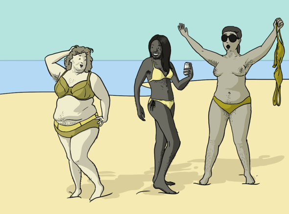 Three women with lots of body and face hair stand on the beach posing sexily and having a fabulous time - some of them might have PCOS and some of them might not we don't know
