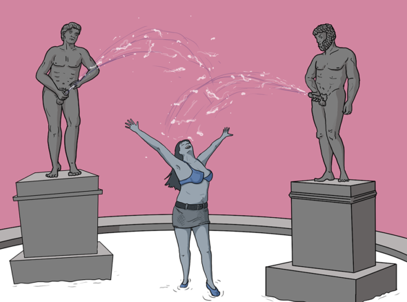 Woman in a bra and skirt stands between two statues of naked men on plinths. They are masturbating and big wads of spunk are raining down on her ecstatic face