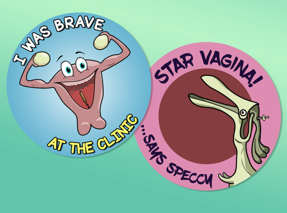 Images of stickers for bravery which should be dispensed to people after they've had an IUD fitted