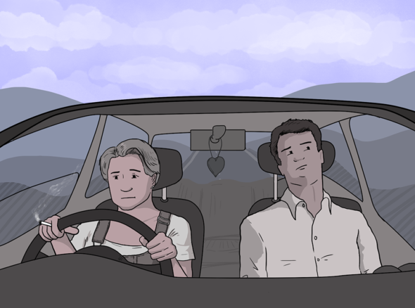 Couple sits in the front seat of a car, each looking distant. One is looking quite angry and smoking a cigarette