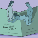 """Invitation to a gang bang with pop up people having sex in the middle of the card and the phrase """"you are invited to a bang of gangtastic proportions'"""
